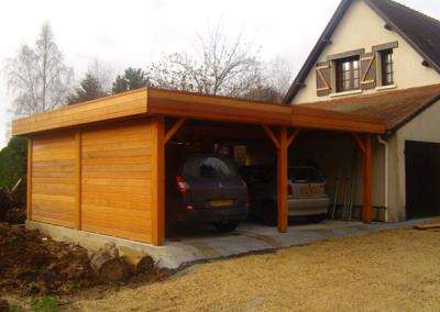 Garage abri ouvert en bois toit plat