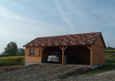 Garage en bois avec abri pour 2 voitures