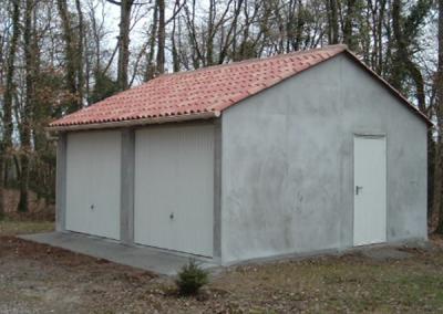 Garages 2 portes béton avec 2 pentes