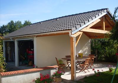 Garage béton avec auvent terrasse