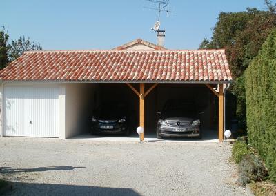 Garage béton avec auvent pour 2 voitures
