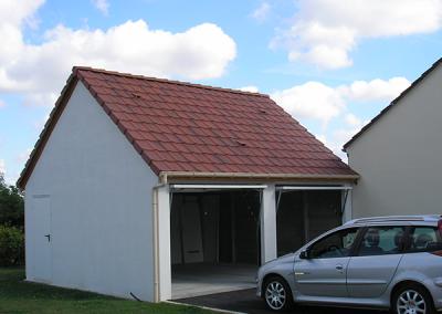 Garage béton double avec 2 pentes