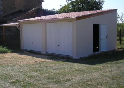 Garage double béton mono-pente