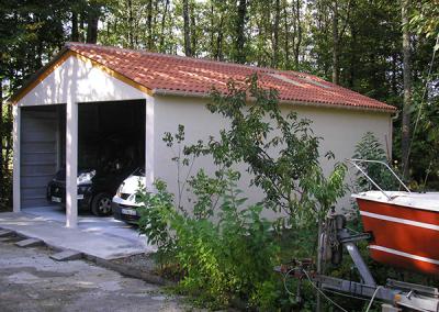 Hangar double garage en béton
